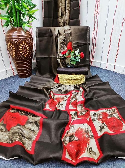 Digital Print Cotton Linen Saree -03