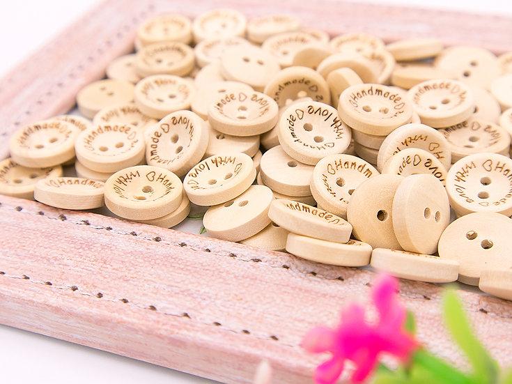 กระดุมไม้ Handmade 15, 20, 25 mm 20 เม็ด