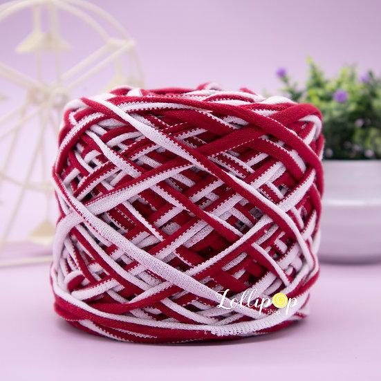 ไหมผ้ายืด No.38 สีเหลือบ ขาว - แดง