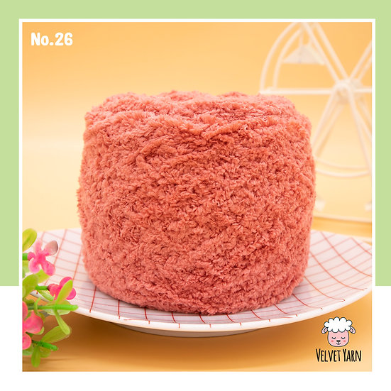ไหมพรมขนแกะ Velvet Yarn  No.26 สีบลัช