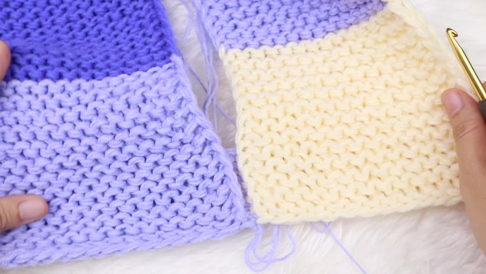 วิธีต่อชิ้นงาน ผ้าห่มจากบล็อกวงกลม