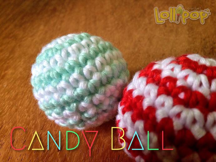 วิธีถักลูกบอลสีลูกกวาดโครเชต์