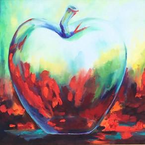 22x28 Impressionist glass apple