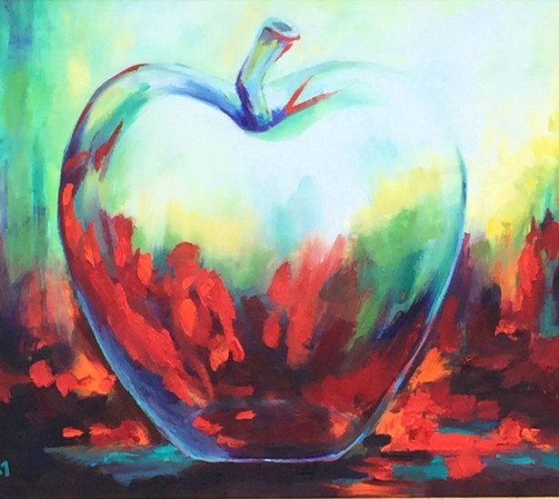 22x28 Impressionist glass apple