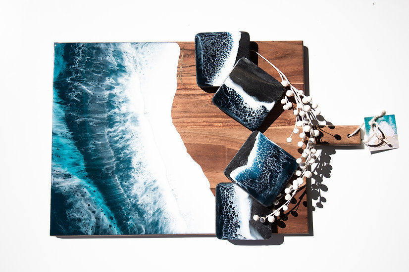 Gift Set - Coasters & Cheese Board