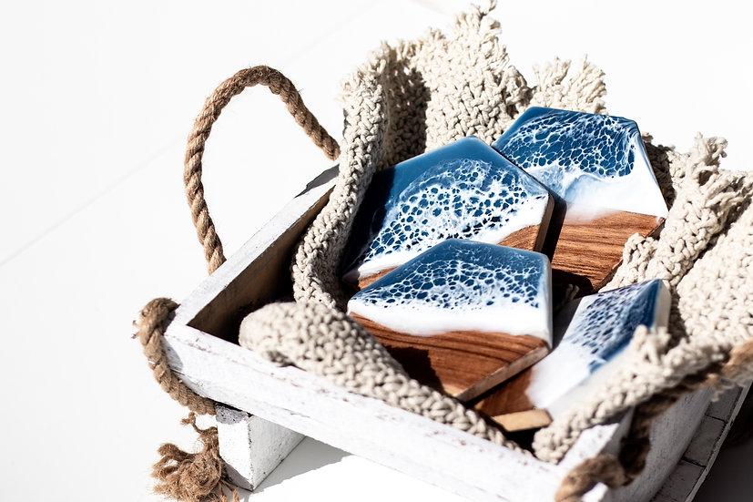 Marble & Wood Coaster Set