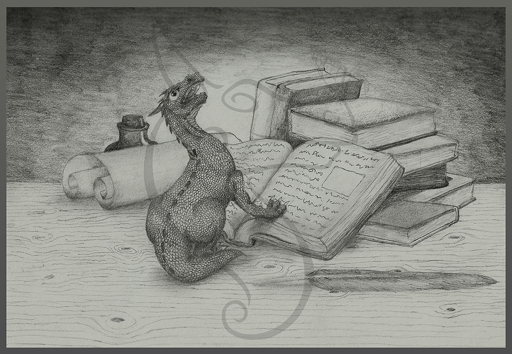 a happy dragon with his books