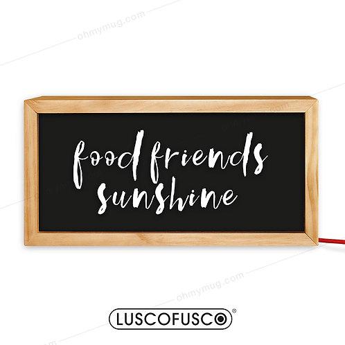 CAJA DE LUZ MADERA FOOD FRIENDS SUNSHINE