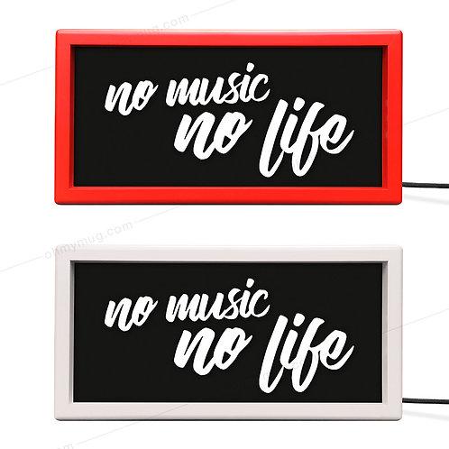 CAJA DE LUZ COLOR NO MUSIC NO LIFE