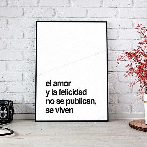 LÁMINA EL AMOR Y LA FELICIDAD SE VIVEN