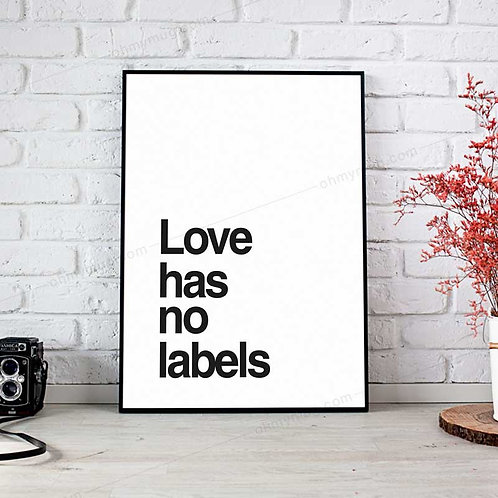 LÁMINA PÓSTER DECORACIÓN LOVE HAS NO LABELS