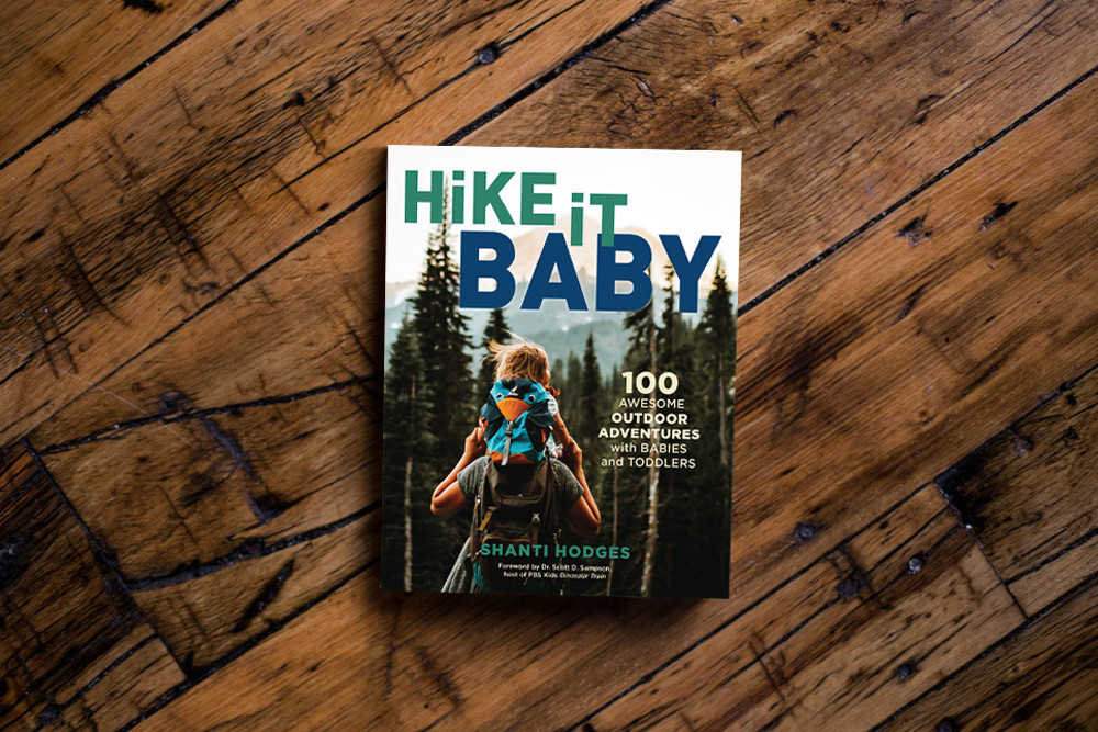 The Hike it Baby book presented on a wood background