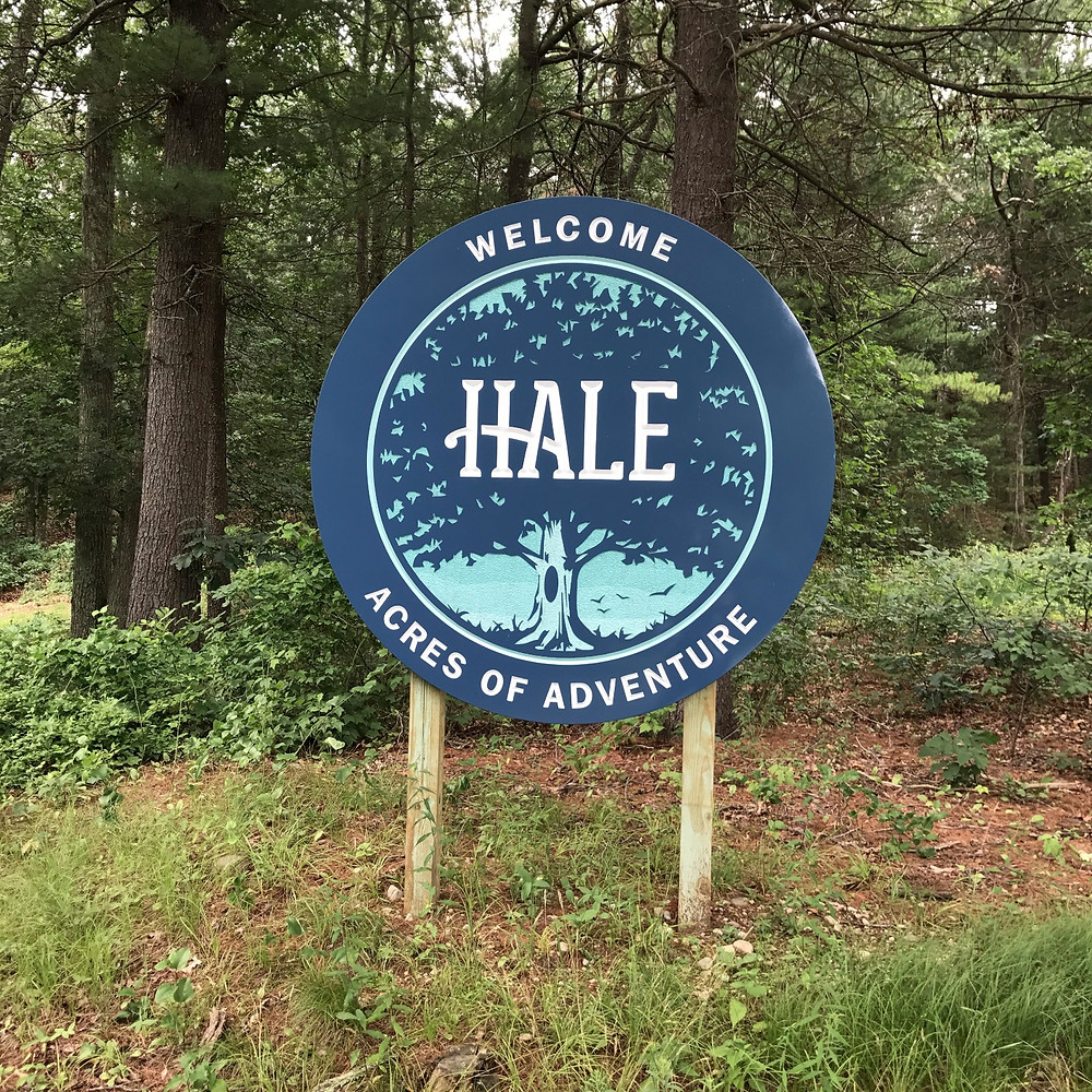 Hale Reservation welcome sign at the entrance in Westwood, MA. This is where we started our little hike.