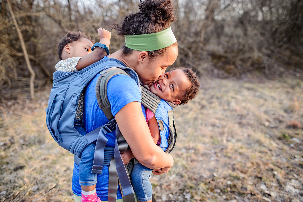 Tandem babywearing at HIke it Baby