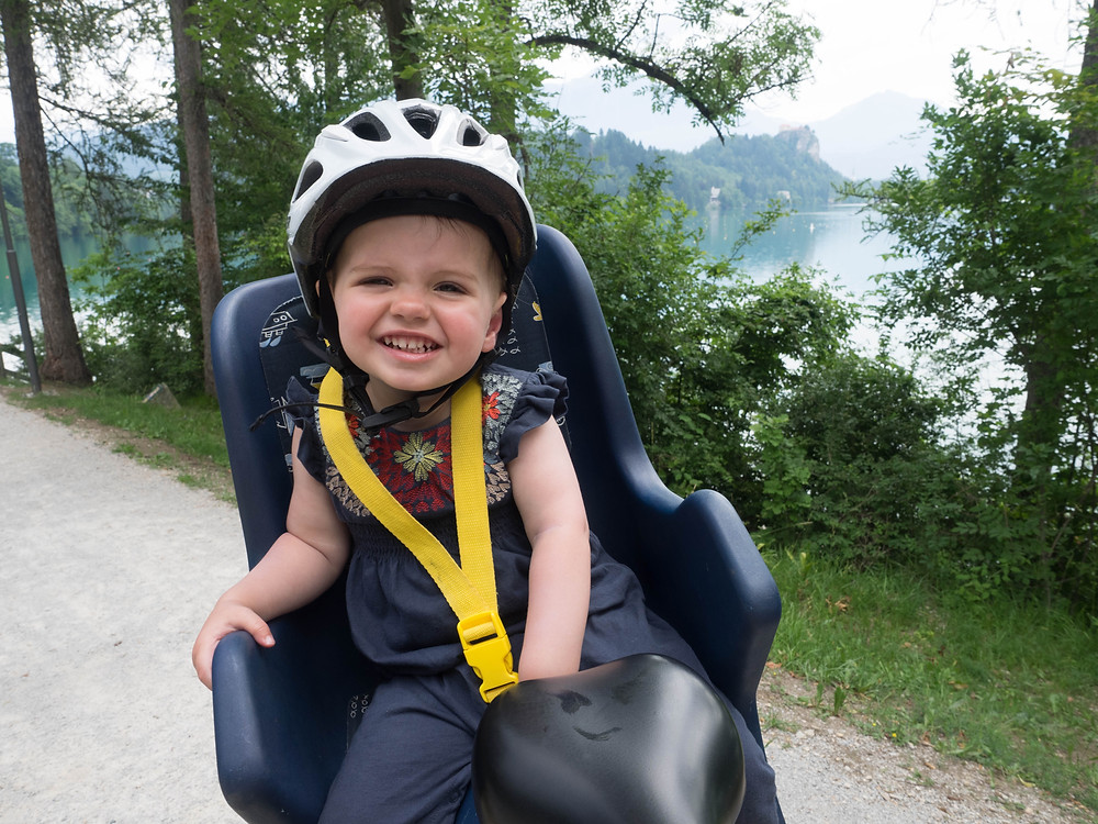 Biking Lake Bled with Toddler in Tow