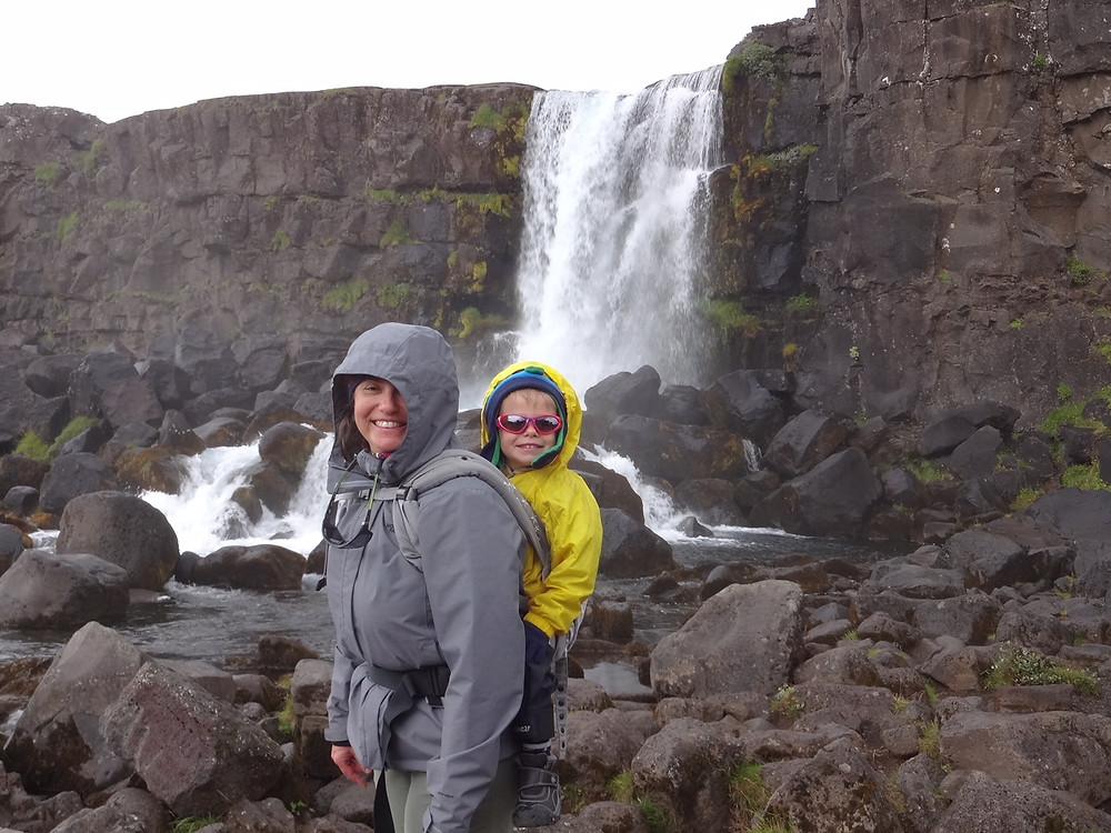 Lori and her son at Pingviellir National Park
