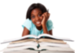 Beautiful happy smiling student with pen and a pile of open books doing homework, isolated.jpg