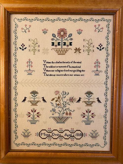 Mary Drake 1818 English Sampler Reproduction