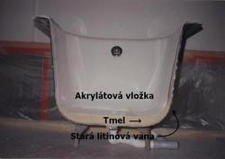 detail průřezu akrylátové vany