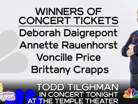 NBC30 congratulates winners of Tilghman concert ticket giveaway