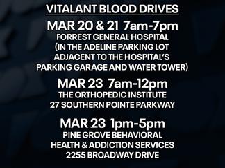 Vitalant, FGH schedule blood drives in Hattiesburg