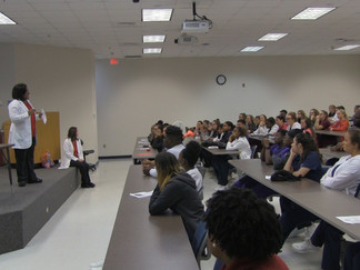 William Carey educates high school students about health care industry