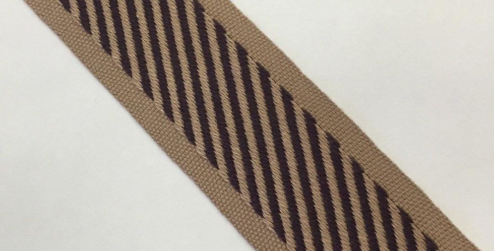 Brown and Gold Flat Braid - Stripe on Bias