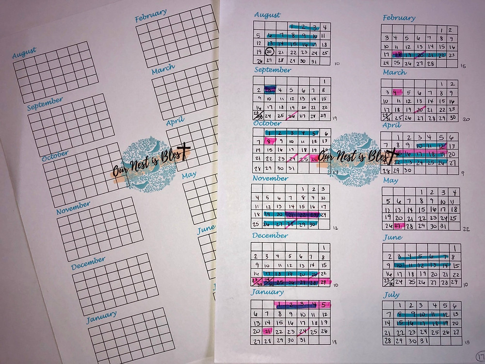 Year at a glance calendar with highlighted days.