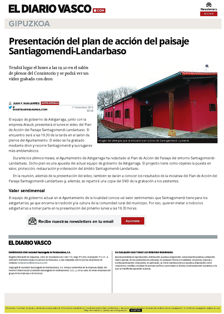 Presentación del Plan de Acción del paisaje de Santiagomendi-Landarbaso