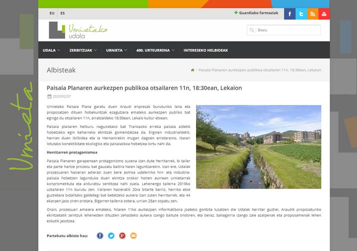 Paisaia Planaren aurkezpen publikoa otsailaren 11n, 18:30ean, Lekaion. Presentación pública del Plan