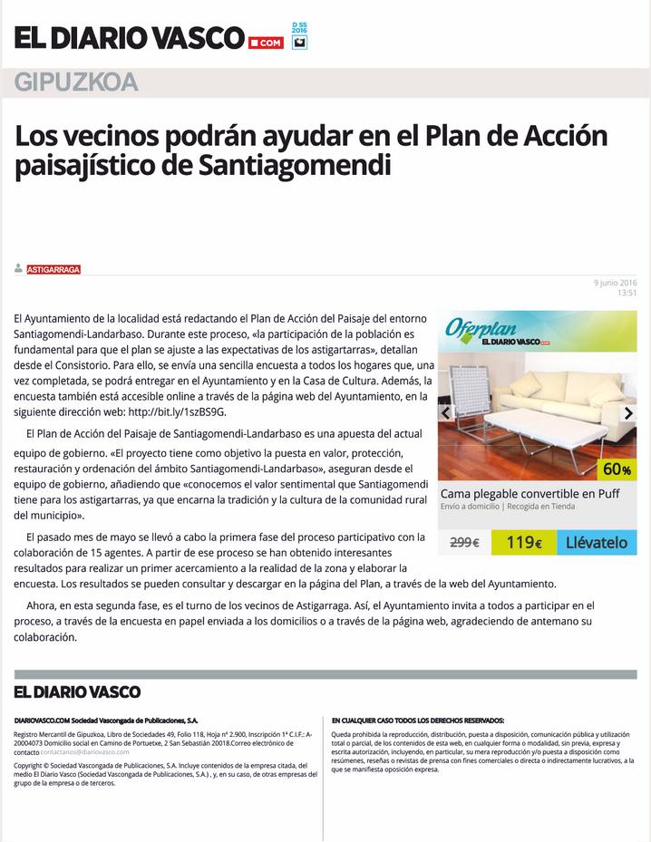 Los vecinos podrán ayudar en el Plan de Acción paisajístico de Santiagomendi