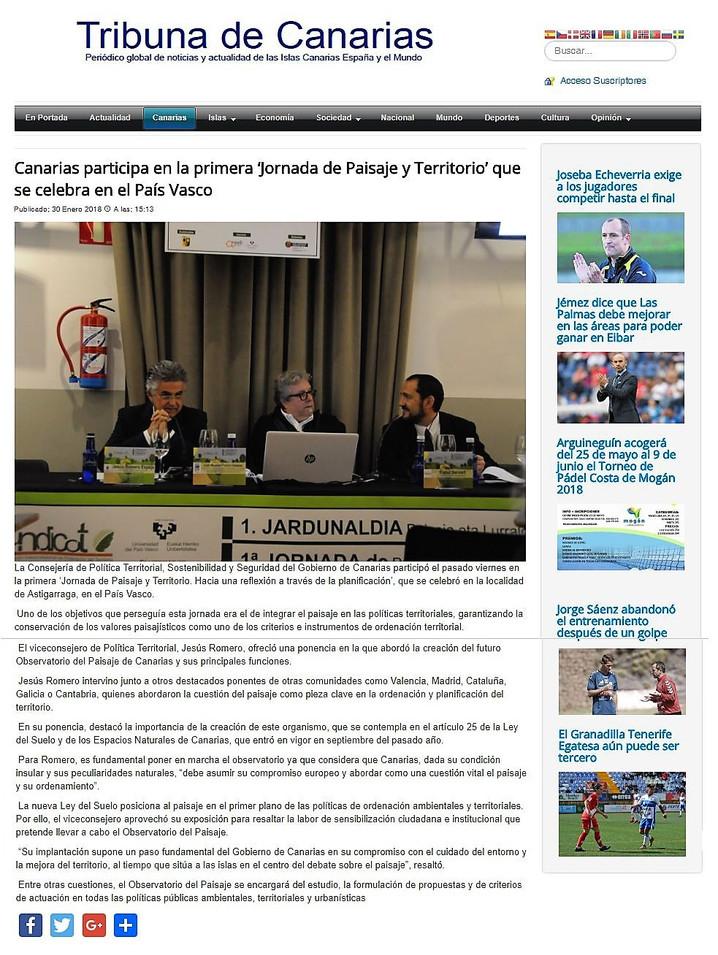 """Canarias participa en la primera """"Jornada de Paisaje y Territorio"""" que se celebra en el Pa"""