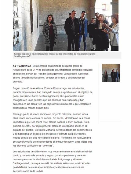 La UPV presenta sus propuestas para el barrio de Santiagomendi
