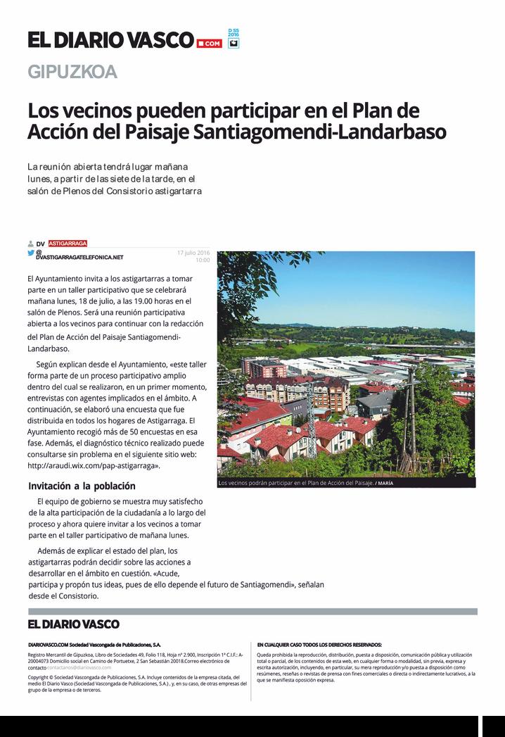 Los vecinos pueden participar en el Plan de Acción de Paisaje Santiagomendi-Landarbaso