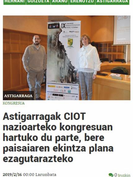 Astigarraga será parte del IX CIOT a desarrollar en Santander los días 13.14 y 15 de marzo de 2019