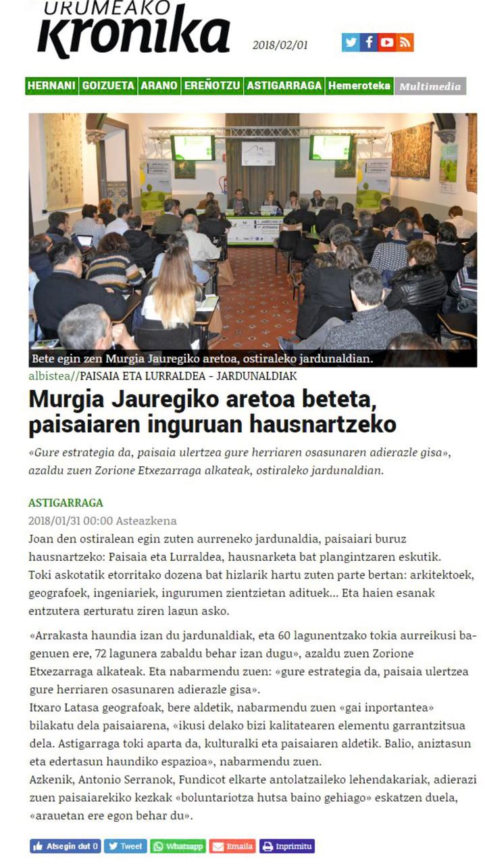 Murgia Jauregiko aretoa beteta, paisaiaren inguruan hausnartzeko