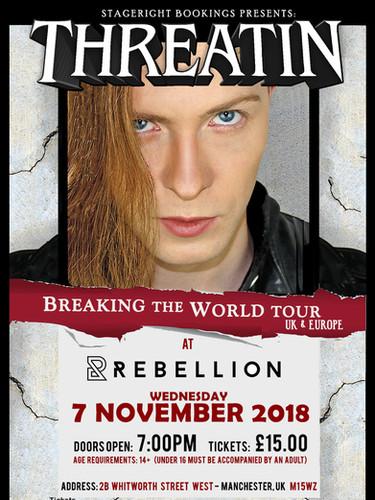 Rebellion Threatin Nov 7 Tour Poster - A