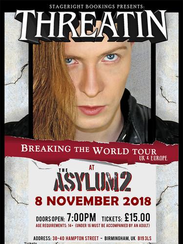 Asylum Threatin Nov 8 Tour Poster - A3.j