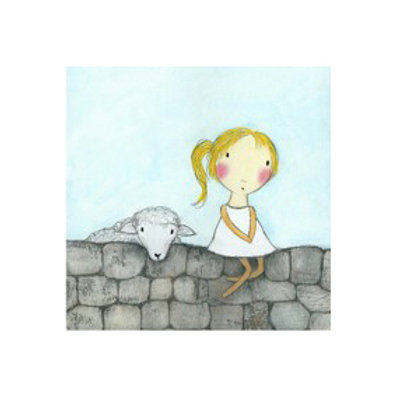 Girl with Lamb - Canvas Art