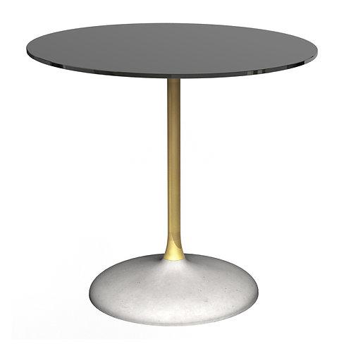 Swan Circular Dining Table -  Brass Column & Concrete Base