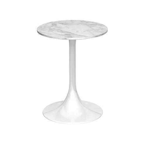 Swan Circular Side Table - White Gloss Base