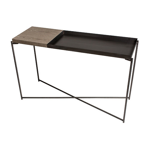 Iris Large Console Table with Large Tray Top - Gun Metal Frame