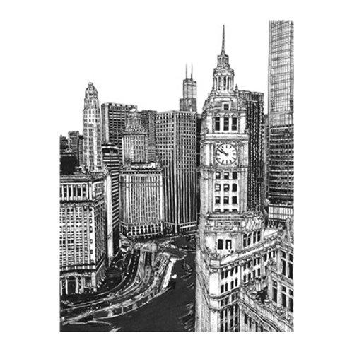 B&W Us Cityscape-Chicago - Canvas Art