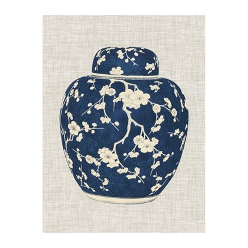 Blue & White Ginger Jar on Linen II - Canvas Art