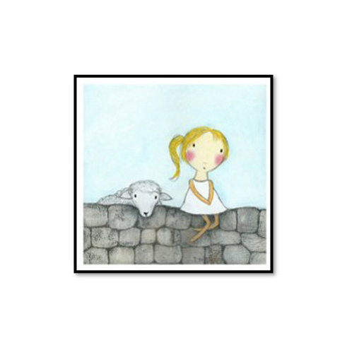 Girl with Lamb - Framed & Mounted Art