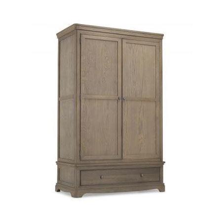 Double Wardrobe With Drawer - Colmar Oak