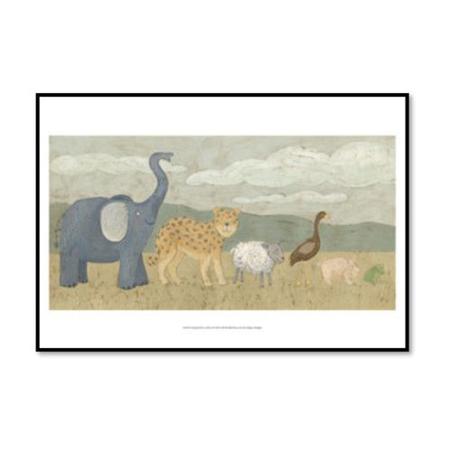 Animals in All in a Row I - Framed & Mounted