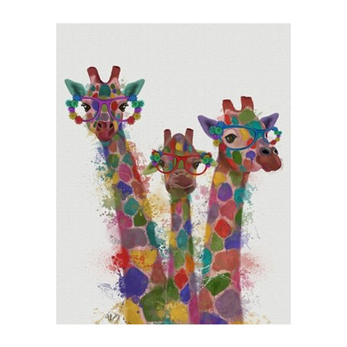 Rainbow Splash Giraffe Trio - Canvas Art