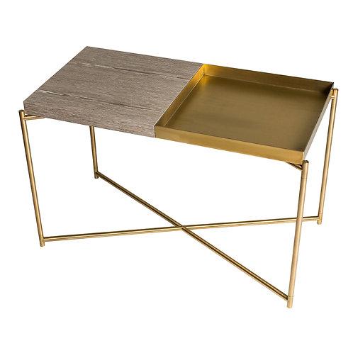 Iris Rectangular Tray Top Side Table - Brass Frame