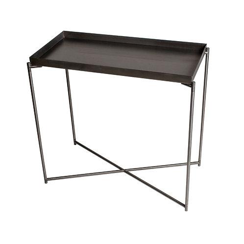 Iris Small Tray Top Console Table - Gun Metal Frame